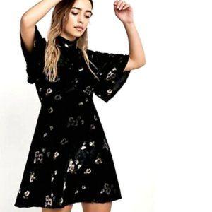 Free People Be My Baby Floral Velvet Mini Dress